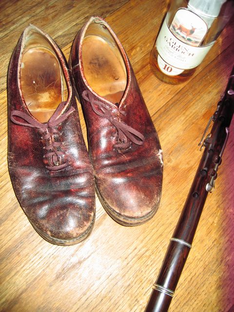 limmer sean-nós shoes with flute and whisky